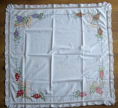 Vintage Linen Tablecloth Hand Embroidered & Crochet Edging Flowers Birds