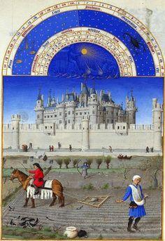 """""""Ottobre. Semina"""", foglio 10v del codice miniato """"Très Riches Heures du Duc de Berry"""". Un Libro d'Ore manoscritto nel 1414 circa e completat..."""