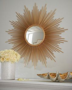 """Thin Sunray"" Mirror by Global Views at Horchow. Round, sunburst mirror in Gold Sun Mirror, Mirror Floor, Boho Home, Handmade Home, Home Furnishings, Home Accessories, Diy Home Decor, Interior Decorating, Decorating Mirrors"
