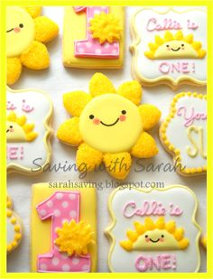 You Are My Sunshine Cookies, 1st Birthday Cookies, First Birthday Cookies, Sunshine Cookies, Yellow and Pink Cookies, Decorated Cookies, Sugar Cookies