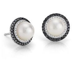 Blue Nile Freshwater Cultured Pearl and Diamond Stud Earrings ($695) ❤ liked on Polyvore featuring jewelry, earrings, accessories, ohrringe, pearl, black and white earrings, 14k earrings, diamond jewelry, vintage diamond earrings and stud earring set