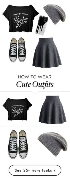 """Cute 'Panic! at the disco' outfit"" by cailinstar on Polyvore featuring Chicwish, Converse, BCBGMAXAZRIA and Casetify"