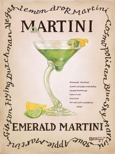 Emerald Martini, an original painting,  personally by the artist Janet Kruskamp showing a curved stem martini glass with a slice of lime, stirrer and lemon twist. The recipe for a emerald martini is written next to the glass.