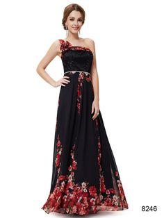 美しい花 ワンショルダーのブラック系ロングドレス♪ - ロングドレス・パーティードレスはGN|演奏会や結婚式に大活躍!