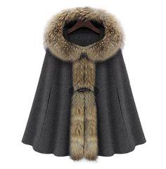Honorable Faux Fur Embellished Horn Button Design Hooded Sleeveless Cloak Coat For Women, CAMEL, L in Jackets & Coats | DressLily.com