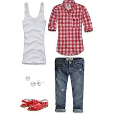 Summer Afternoon, created by faithlorraine77 on Polyvore - gingham red / white shirt, capri jeans, saltwater sandals