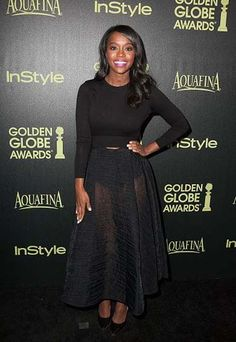 How To Get Away With Murder actress Aja Naomi King wore a Tracy Reese sheer black skirt to the Hollywood Foreign Press Association and InStyle Celebrate the 2015 Golden Globe Awards Season.