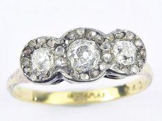 FABULOUS ANTIQUE EDWARDIAN ENGLISH 18K GOLD DIAMOND PLATINUM RING c1910