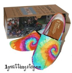 Tie Dye TOMS Shoes  hand dyed and custom made  by by 1GreatThing, $100.00