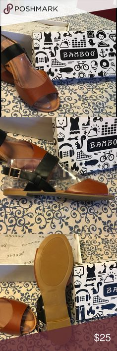 Modcloth Bamboo tan and black leather sandals sz10 Great tan and black leather sandals from Bamboo, sold on Modcloth.  Brand spankin new.  Size 10. ModCloth Shoes Sandals