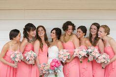 Pretty in pink bridesmaids Pink Bridesmaids, Bridesmaid Dresses, Wedding Stuff, Dream Wedding, Pink Flower Bouquet, Wedding Inspiration, Wedding Ideas, Engagement Ideas