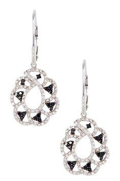 Two-Tone Black & White Diamond Open Leverback Earrings - 0.75 ctw