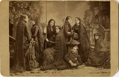 """ca. 1875, """"The Sutherland sisters with their brother Charles"""", [cabinet card portrait of sever long-haired women with a gentlema..."""