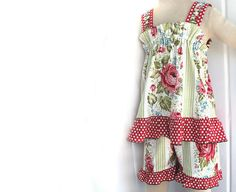 short, girl clothing, polka dots, children cloth, ruffl, kid cloth, girl outfits, red roses, swing
