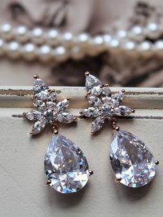 ON SALE Set of 345 Rose Gold Bridesmaid Earrings Art Deco