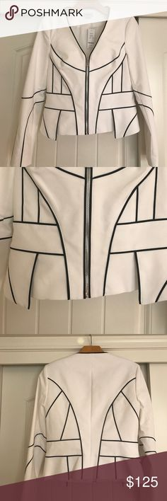 Bebe Kelsey Jacket NWT- Statement suiting. Exquisite white cotton jacket with impeccable windowpane piping and sculpted, feminine fit. Front peplum detail. Shoulder pads. Exposed front zip closure. Fully lined. bebe Jackets & Coats Blazers