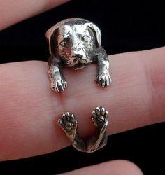 Labrador Retriever Ring, Sterling Silver Ring, Dog Ring, Animal Ring, Pet Ring, Labrador Jewelry, Labrador Ring, Adjustable Ring by Inmmotion on Etsy https://www.etsy.com/listing/230604826/labrador-retriever-ring-sterling-silver