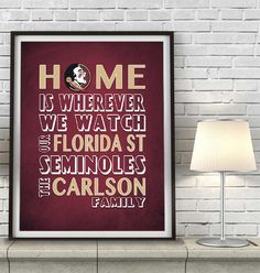 "Florida State Seminoles FSU inspired Personalized Customized Art Print- ""Home Is"" Parody- Retro, Vintage-  Unframed Print"