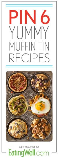 Because everything in a muffin tin is cuter! Quinoa cakes, egg cups, bread pudding, lasagna and more.