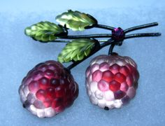 Austria Double Rose Raspberry Brooch/pin Austrian Crystal Fruit Pin Glass Leaves