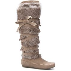 ShoeDazzle Boots Kristy Womens Beige ❤ liked on Polyvore featuring shoes, boots, beige, moccasin style boots, moccassin boots, moccasin style shoes, beige shoes and faux-fur boots