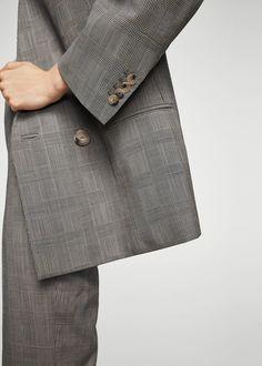 Check wool blazer - Women | MANGO USA