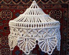 """Shell Pattern Macramé Lamp ~ Size: 15"""" Wide X 17"""" Tall"""