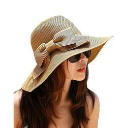 74b7ef03ec0 Women s Foldable Bowknot Straw Hat Cap Wide Brim Beach Sun Visor Girls  Khaki New