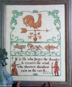 Cross Stitch Pattern ANTIQUE WEATHER VANES Weathercock - fam