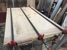 Red oak table top glue up.