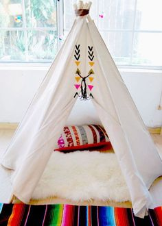 The Aztec Tipi - Kids Teepee in Hand Painted Natural Canvas - & Sticks at the Opening) Teepee Kids, Teepee Tent, Teepees, Ideas Geniales, Big Girl Rooms, Cabana, Kid Spaces, Kids Decor, Kids Playing