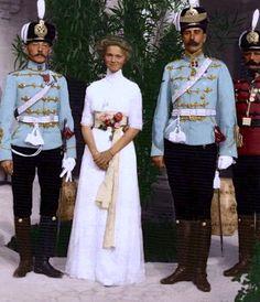 Olga Romanov looking beautiful on her 16th birthday, beside her members of her regiment