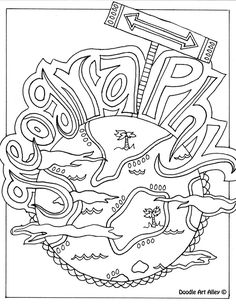 geography-themed coloring page, could be used as a binder cover page
