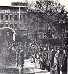 Photograph of Mourners Waiting in Line to Enter the North Door of State House, May 3-4, 1865