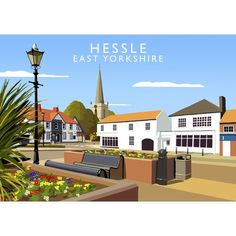 'Hessle' Graphic Art East Urban Home Format: No Frame, Size: 40 cm H x 50 cm W x 1 cm D Posters Uk, Railway Posters, Travel Posters, Vintage Posters, Painting Prints, Fine Art Prints, British Travel, East Yorkshire, Buy Prints