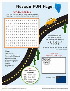Fourth Grade Geography Travel Games Worksheets: Nevada Fun Facts