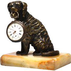 Antique Nineteenth Century Bronze Mechanical Sculpture Dog Porte Montre Watch Holder