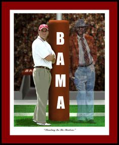 Alabama Prints- Standing in the Shadows Mike Shula, Coach Bear Bryant Print #RollTide #Bama