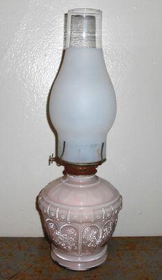 Vintage Oil Lamp Kaadan Pink Glass Roses Shabby by TheBackShak, $30.00