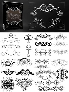 This design pack comes with 33 unique decorative elements such as flourishes, swirls, motifs, and more! They look great as text dividers or as a border surrounding your design. They are available for free as vector, brushes, and images. The images are PNG files with a transparent background. They are all high quality and handmade. As with all of our resources, personal and commercial use is welcomed and encouraged! . More Free Vector Graphics, www.123freevectors.com