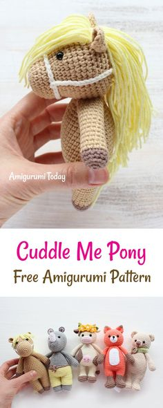 Cuddle Me Pony amigurumi pattern This crochet pony is another addition to our Cuddle Me Toy collection. Whether you use it as a cuddly toy or a playmate, Cuddle Me Pony will make many dreams come true for all young pony lovers. Crochet Pony, Crochet Horse, Crochet Unicorn, Crochet Baby Hats, Cute Crochet, Crochet Animals, Crochet Crafts, Crochet Projects, Crochet Patterns Amigurumi