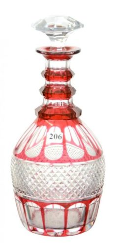 """DECANTER - 12"""" - ABCG - CRANBERRY CUT TO CLEAR, $350.00."""