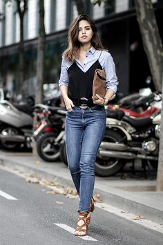 How to wear and layer a camisole over a shirt or t-shirt and reconsider to wear your boring work clothes for a casual weekend outfit on fake leather blog.
