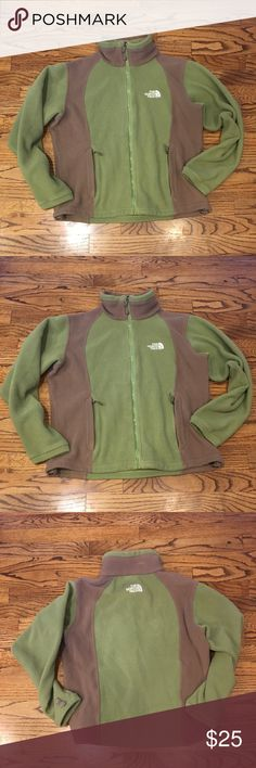The North Face fleece jacket In good condition, and cute light green and dark beige colors. Wear includes some pilling, and two loose stitches. Priced for wear The North Face Jackets & Coats