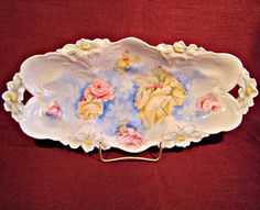 Beautiful R S PRUSSIA Antique Ca. 1890s CELERY DISH Yellow Roses LILY MOLD #RSPrussia