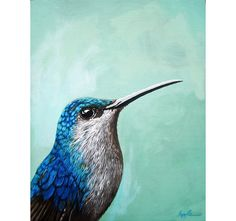 Hummingbird realistic bird art print from Original oil by appleart