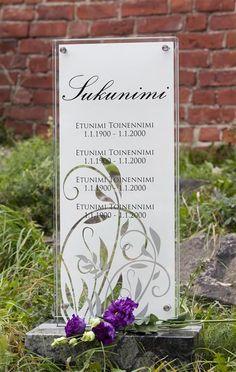 Lasinen hautakivi (malli Usva-S) Glassy memorial stone / Grave stone glass (model Usva-S) Malli, Memorial Stones, Place Cards, Place Card Holders, Memories, Beautiful, Art, Stall Signs, Corning Glass