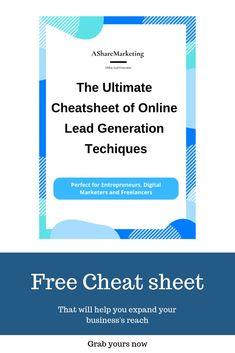 Lead Generation cheat sheet Perfect for digital marketer and entrepreneur Digital marketing Digital Marketing Strategy, Sales And Marketing, Business Marketing, Content Marketing, Online Business, Media Marketing, Affiliate Marketing, Lead Sheet, Lead Magnet