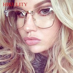f8c6ebf2af Half Frame Clear Glasses Myopia Clear Frame Glasses Women Men Spectacle Frame  Gold Clear Lens Optical