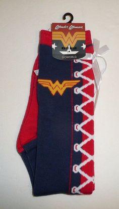 DC Comics Wonder Woman Licensed Faux Lace 1 Pair of Women's Knee High Socks  #Bioworld #KneeHigh